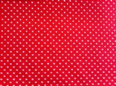 Red with 3mm White Spot 100% Cotton Fabric